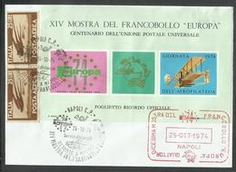 ITALIA REPUBBLICA ITALY REPUBLIC NAPOLI 26 10 1974 MOSTRA DEL FRANCOBOLLO EUROPA AEROFILATELIA UPU - 6. 1946-.. Repubblica