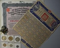 China: Lot 15 Chinesische Münzen, Dabei Cash-Münzen Und Dollar. Alle Unbestimmt. Dazu Noch Eine 5 % - Chine
