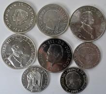 Monaco: Lot 8 Silber Gedenkmünzen Aus Monaco, Dabei: 10 Francs 1966/1966; 50 Francs 1974/1976; 100 F - Monaco