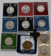 Schweden: Lot 11 Stück; 100 Kronor 1980, 1983, 1985, 1985, 1988 (2), 50 Kronor 1975 ( Alle Gekapselt - Suède