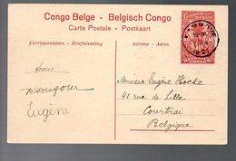 CONGO - ENTIER STIBBE 43 - VUE 55 - KAMBOVE Vers COURTRAI / KORTRIJK-1921 - PL8 - Entiers Postaux