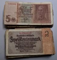 Varia, Sonstiges: BANKNOTEN: Lot Mit über 60 X 2 Rentenmark 1937 Sowie über 60 X 5 Reichsmark 1942. - Other Collections