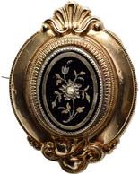 Varia, Sonstiges: Biedermeider Damen-Brosche, 19. Jahrhundert, Vordere Teil Gold 585, 45,7x34 Mm, 11 - Other Collections