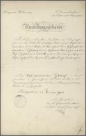 Varia, Sonstiges: Ein Kleines Konvolut Historischer Dokumente; Prüfungs-Attest 1877 Des Sächsischen - Other Collections