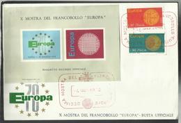 ITALIA REPUBBLICA ITALY REPUBLIC 1970 EUROPA CEPT SERIE COMPLETA SET FDC MOSTRA DEL FRANCOBOLLO A NAPOLI - 6. 1946-.. Repubblica