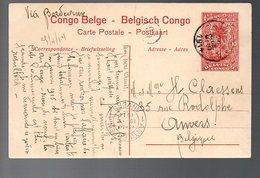 CONGO - ENTIER STIBBE 43 - VUE 53 CHASSE ELEPHANT - BANANA 1914 - ANVERS - PL8 - Entiers Postaux