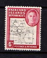 FALKLAND  ISLANDS  DEPENDENCIES   1946    4d  Black  And  Clsaret         MH - Falkland Islands