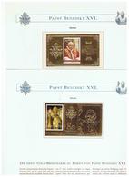 Papst Benedikt XVL Zwei Postfrische Goldblocks Aus Guayana - Célébrités