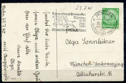 """German Empires 1940 Color Anlaßkarte Mit Mi.Nr. 515 U.Pferdesport MWST""""München-Internationale Rennwochen,br.Band """" 1 AK - Caballos"""