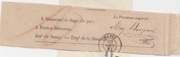Avis Sous Bande (fragment) De Nancy (Dateur T15) Du 26 Sept 1862 Pour Pont à Mousson En Franchise - Marcophilie (Lettres)