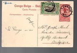 CONGO - ENTIER STIBBE 43 - VUE 1 - KAMBOVE 1921 SUPERBE -  TB - PL8 - Entiers Postaux