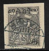 Ethiopia Scott # 28 Used On Piece Lion Of Judah Handstamped, 1903, CV$57.50 - Ethiopie