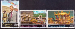 ASCENSION 1977 SG #222-24 Compl.set Used Silver Jubilee - Ascension