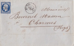 Lettre D'Epinal (Dateur T15) Du 21 Déc 1855 Pour Charmes PC 1187 Sur 20c Bleu Foncé (N° 14a) - 1849-1876: Klassik