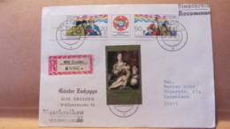 """DDR: R-Brief Mit 2959/ZF/2960 """"Für Antiimperialistische Solidarität-Frieden U.F"""" Aus Dresden (0896) 14.4.85 Knr: W Zd640 - [6] République Démocratique"""