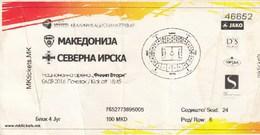 Ticket Macedonia Vs Nothern Ireland 2016. Football Match - Tickets D'entrée