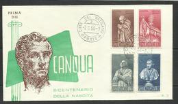 VATICANO VATIKAN VATICAN 1958 ANTONIO CANOVA SERIE COMPLETA COMPLETE SET FDC PRIMA DIE - FDC