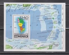 DOMINICA Scott # 607 MNH - Map Of Caribbean & Dominica Souvenir Sheet - Dominique (1978-...)