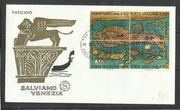 CITTÀ DEL VATICANO VATIKAN VATICAN 1972 PER LA SALVAGUARDIA DI VENEZIA SALVIAMO BLOCCO QUARTINA BLOCK FDC FILAGRANO - FDC