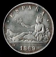 5 Pts,1869 Gobierno Provisional, (Moneda Falsa De época) - [ 1] …-1931 : Reino