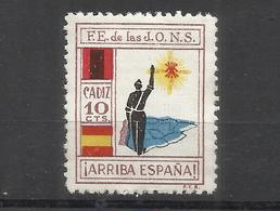 486A- MNH** SELLO LOCAL CADIZ Falange JONS Poster Stamp Label Vignette Viñeta España Guerra Civil War,VIÑETA GUERRA CIVI - Emissioni Nazionaliste