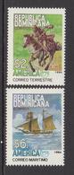 1994 Dominican Republic Dominicana  Pony Express Horses Sailing Ship AMERICA Complete Set Of 2 MNH - Dominicaine (République)