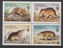 1994 Dominican Republic Dominicana  WWF Rodent Complete Block Of 4 MNH - Dominicaine (République)
