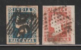 INDE ANGLAISE - N° 2A+3 Obl (1854) Victoria - 1854 Compagnie Des Indes
