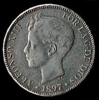 5 Pts, 1897, Alfonso XIII, (Moneda Falsa De época) - [ 1] …-1931 : Reino