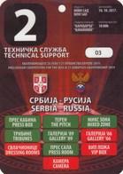 Official Pass Ticket UEFA U21 Match Serbia  Vs Russia 2017. National Team Under-21 - Tickets D'entrée