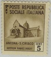 Sello República Social Italiana. Fascista. II Guerra Mundial. 1939-1945. Ancona. Sin Circular. Con Goma Fijasellos - Mint/hinged