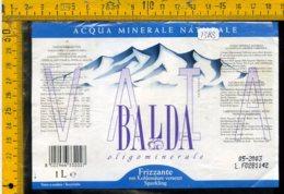 Etichetta Acqua Minerale Vaia Balda Sorgente Mignano BS - Etichette
