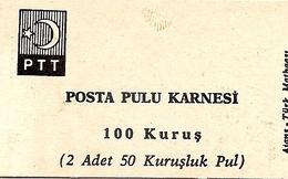 TURKEY, 1967, Booklet 12,  1.00 TL (2x 50 Kurus) - 1921-... République