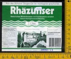 Etichetta Acqua Minerale Estera Rhazunser - Etichette