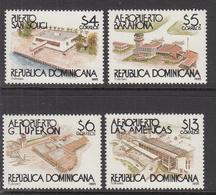 1995 Dominican Republic Dominicana  Tourism Aviation Airports   Complete Set Of 4 MNH - Dominicaine (République)