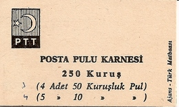 TURKEY, 1967, Booklet 13,  2.50 TL (5x10, 4x50 Kurus) - 1921-... République