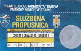 Official Pass Ticket Serbia And Montenegro Vs Uruguay 2006. National Team Football Match - Tickets D'entrée