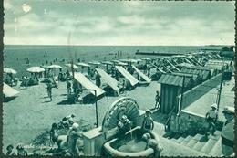 CARTOLINA - RIMINI - CV664 VISERBA (Rimini RN) Spiaggia, FG, Viaggiata 1954, Francobollo Asportato, Buone Condizioni, - Rimini