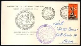 BOXING - ITALIA TORINO 1960 - CAMPIONATO ITALIANO DILETTANTI BOXE LIBERTAS - CARTONCINO UFFICIALE VIAGGIATO - Scherma