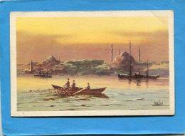 TURQUIE-STANBOUL-la Corne D'or--pêcheur En Barque -illustrée  KUDNI - A Voyagé En 1936  édition  Traldi - Turquie