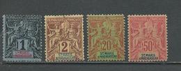 SAINTE-MARIE-DE-MADAGASCAR Scott 1*, 2*, 7**, 11** Yvert 1*, 2*, 7**, 11** (4) * Et ** Fournier  79,00 $ 1894 - Neufs