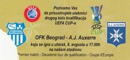 Ticket OFK Beograd Belgrade Serbia FC AJ Auxerre France 2006. Ticket Fc Football Match Europa League - Tickets D'entrée