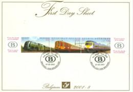 Belg. FDS 2001-8 OBP/COB 2993/95 Treinen 75 Jaar NMBS / Trains 75ème Anniversaire De La SNCB - 2001-10