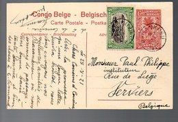 CONGO - ENTIER STIBBE 43 - VUE 57 - BASANKUSU - VERVIERS - 1921- PL8 - Ganzsachen