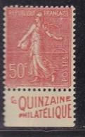 PUBLICITE SEMEUSE LIGNEE 50C ROUGE LA QUINZAINE PHILATELIQUE BAS ACCP 450* - Advertising