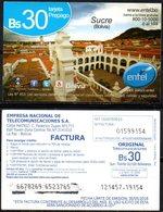 Bolivia 2017 - 30-05-2018 PRIMERA EDICION Prepago ENTEL MOVIL. Sucre, Capital Dela República. Ciudad Blanca. - Bolivia