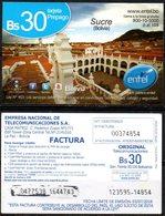 Bolivia 2017 - 03-07-2018  SEGUNDA EDICION Prepago ENTEL MOVIL. Sucre, Capital Dela República. Ciudad Blanca. - Bolivia