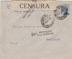Italie Timbre Perforé Sur Lettre Censurée Milano Pour La Suisse 1917 - 1900-44 Vittorio Emanuele III