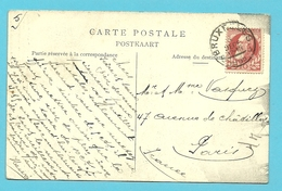 74 Op Kaart Met Stempel BRUXELLES 5 Met Uurblok Onderlijnd (essai)??? - 1905 Grosse Barbe