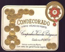 Rotulo Vinho Velho Do Porto CONDECORADO Companhia Vinicola Portugueza - PORTO. Old Gilded Label PORT WINE Portugal - Etiquettes